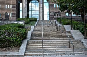 The Frank Crowley Court Building stairs & entrance.
