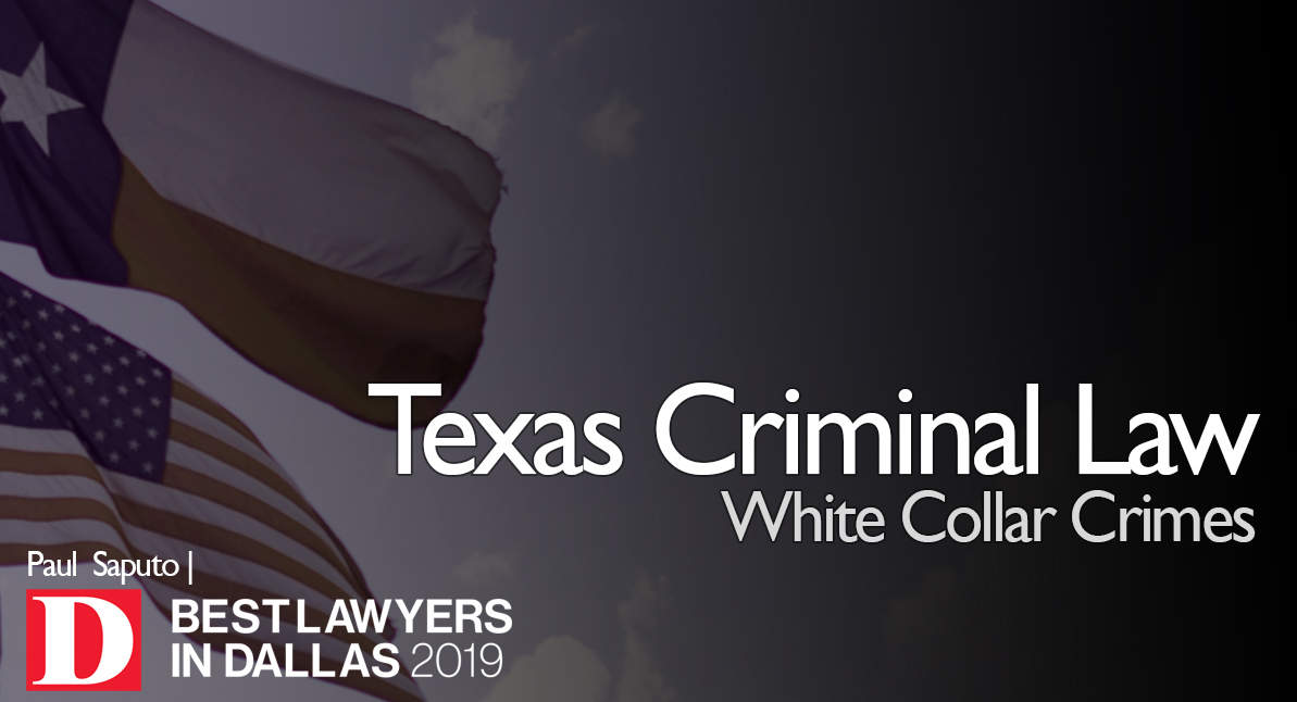 white collar crimes text over texas flag