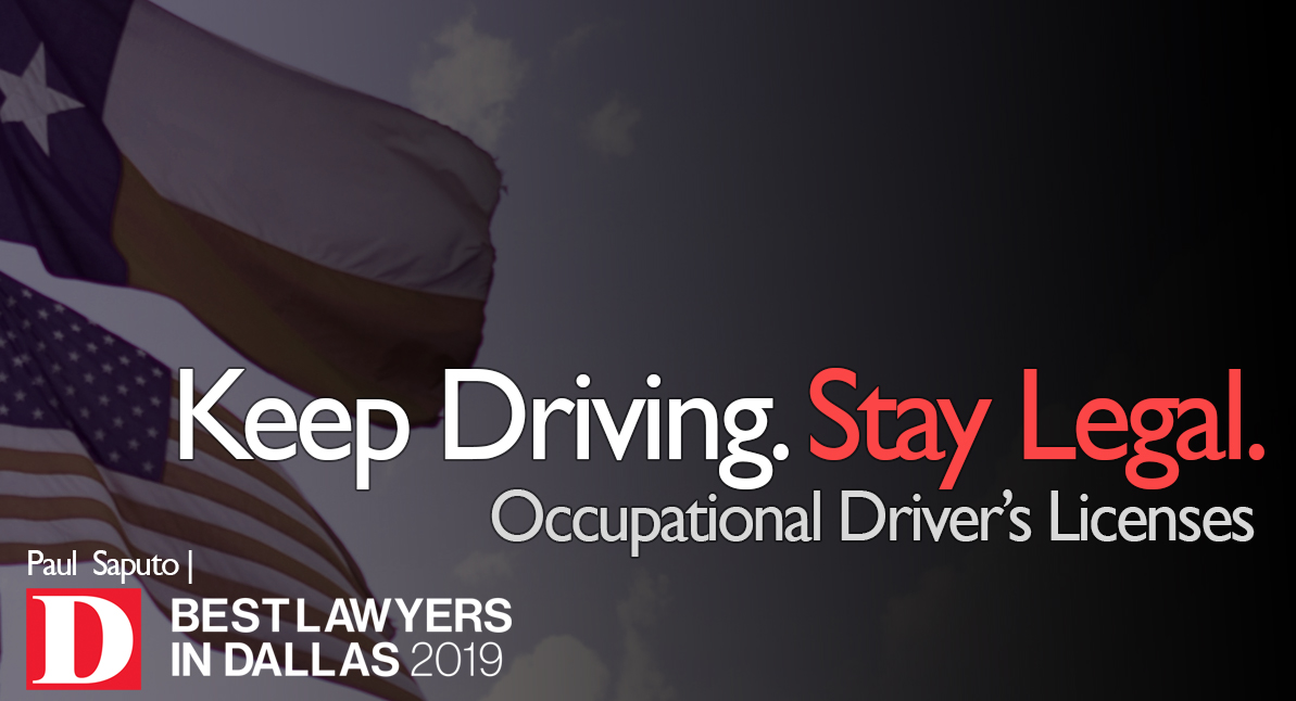 occupational driver's license text over texas flag