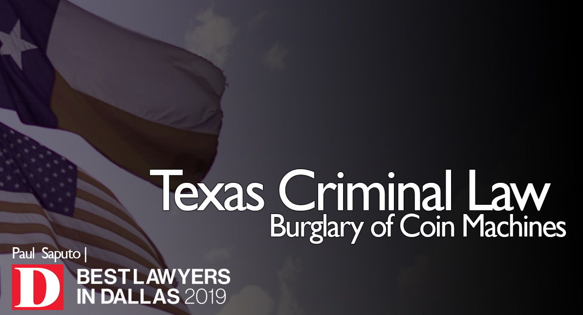 Burglary of Coin Machines text over Texas flags background