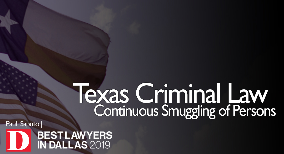 Continuous Smuggling of Persons text over Texas flag background