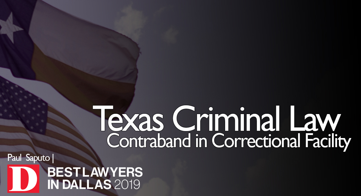 Contraband in Correctional Facility text over Texas flag background