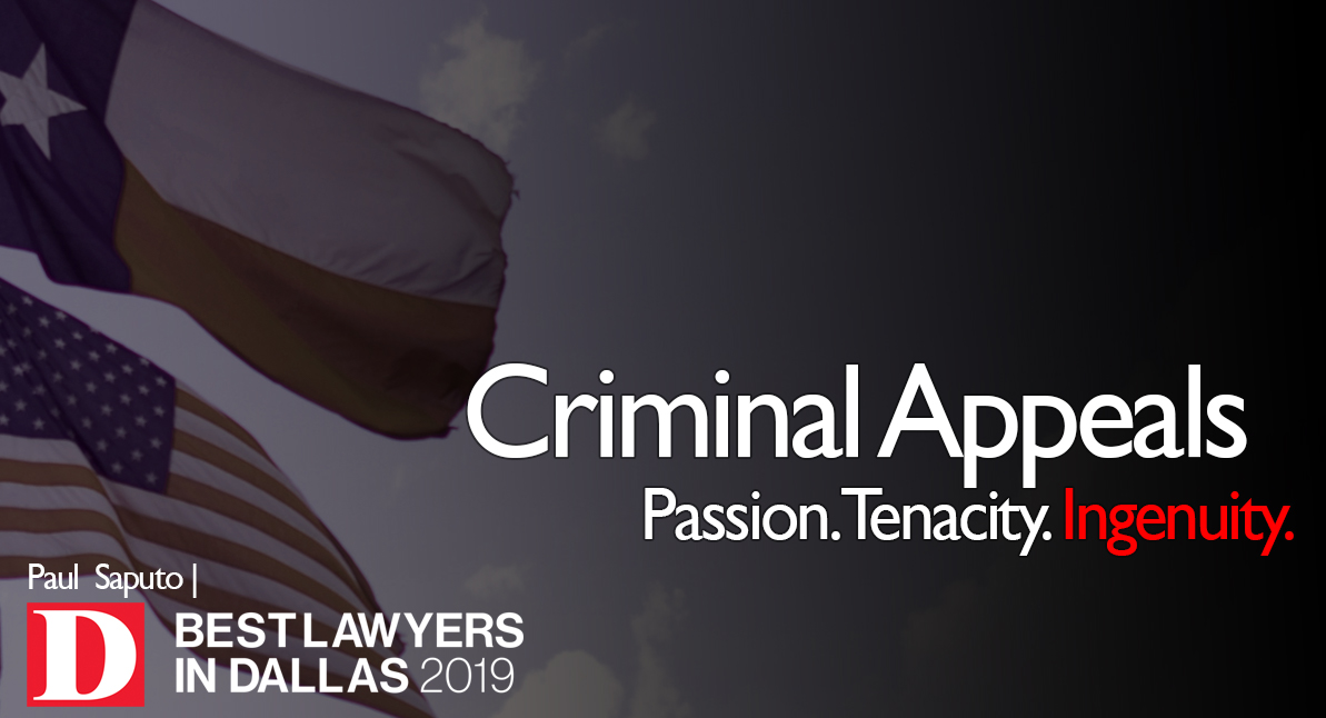 Criminal Appeals text with Texas flag background