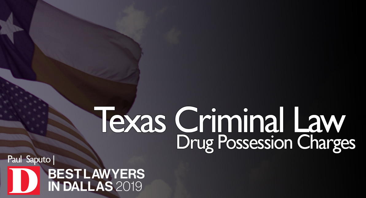Drug Possession Charges text with Texas flags in background