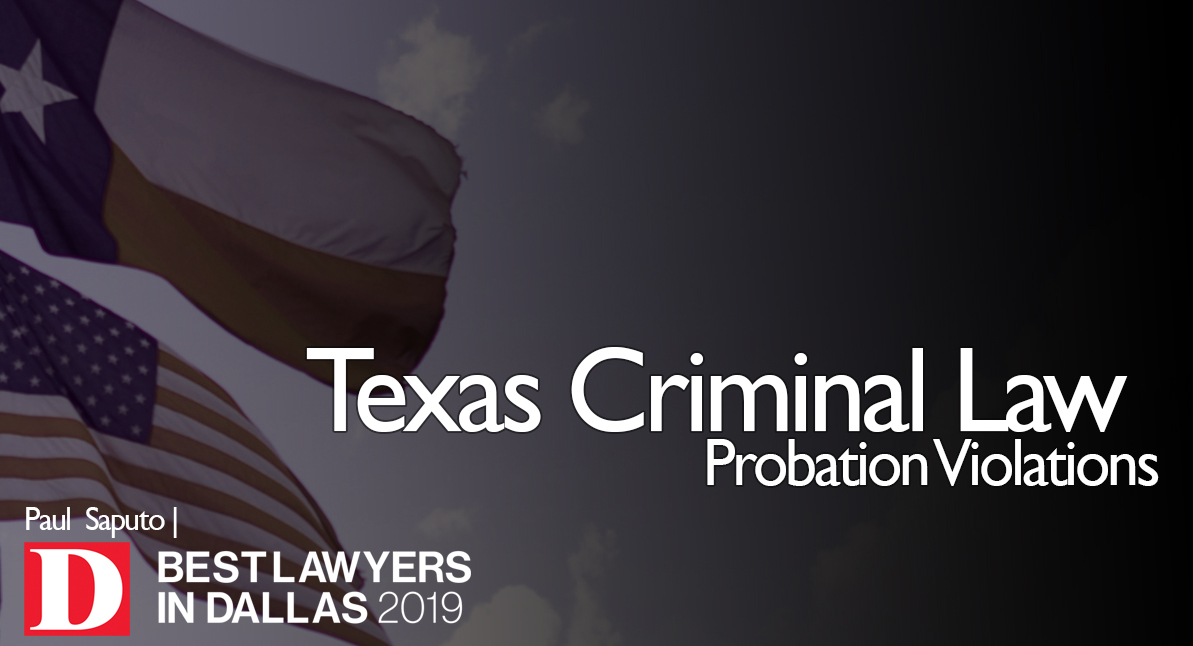 Probation Violations text with Texas flags