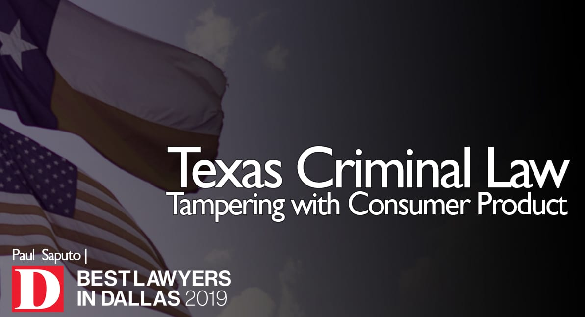 Tampering with Consumer Product text with Texas flags in background