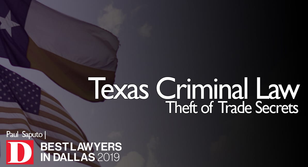 Theft of Trade Secrets text with Texas flag in background