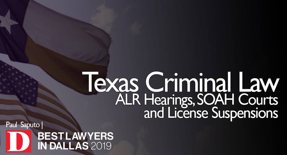 ALR Hearings and SOAH Courts with Texas flag in background