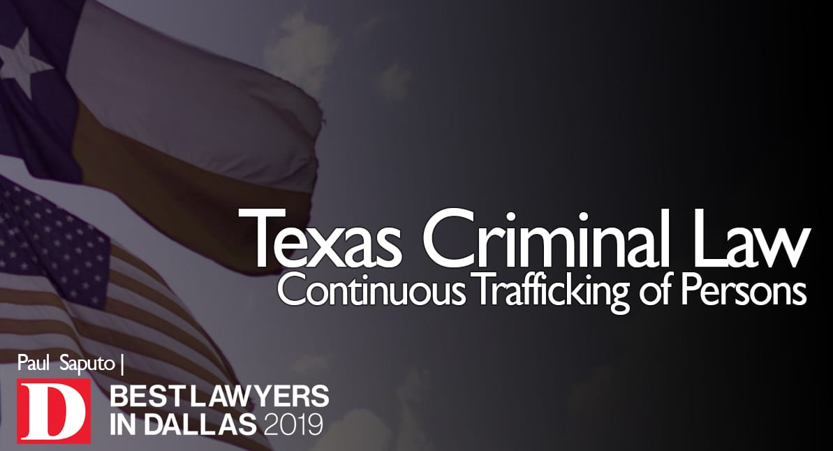 Continuous Trafficking of Persons graphic with Texas flag