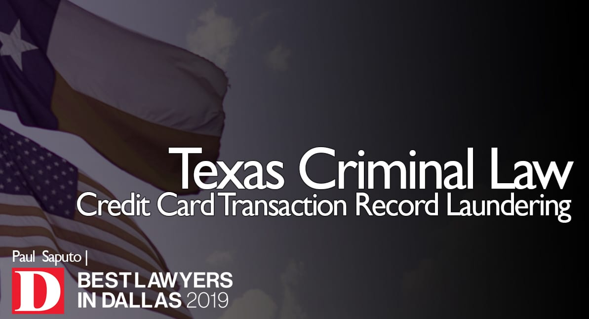 Credit Card Transaction Record Laundering graphic with Texas flag