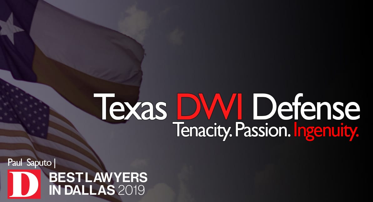 DWI defense lawyer graphic with texas flag