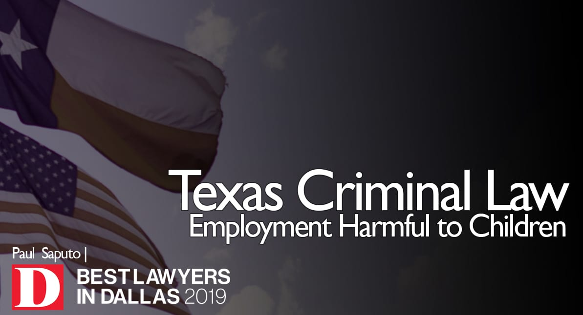 Employment Harmful to Children graphich with Texas flag