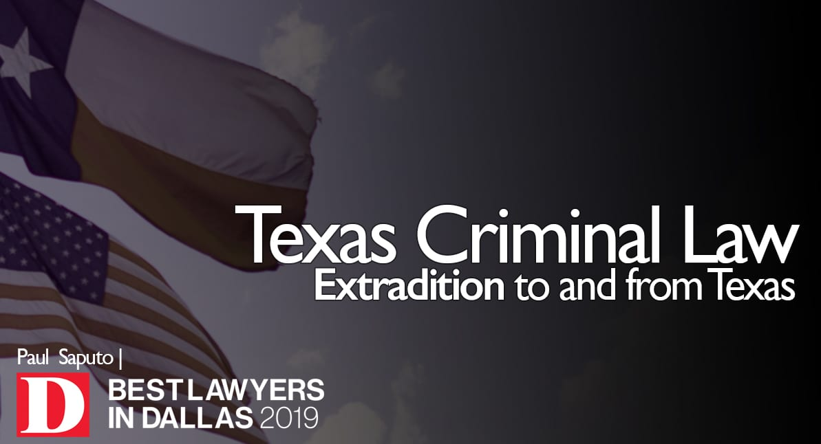 Extradition Graphic with Texas and US flags in background