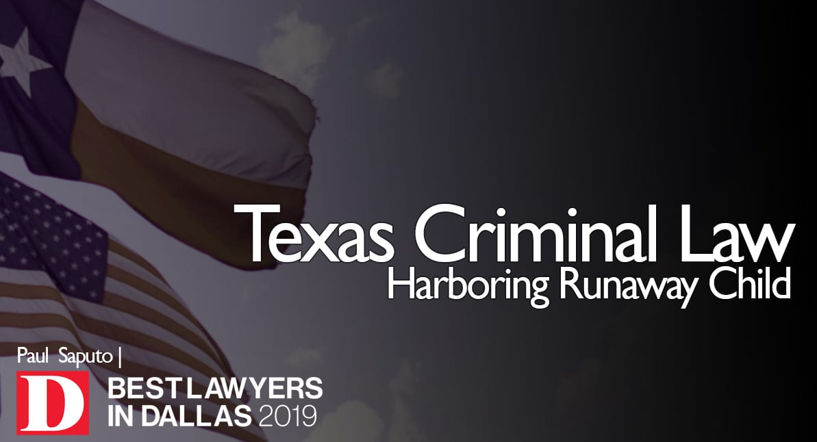 Harboring Runaway Child graphic with Texas flag