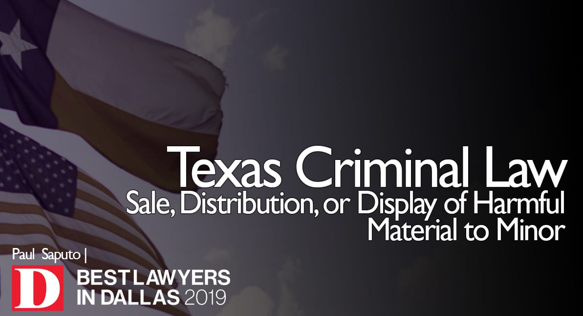 Sale, Distribution, or Display of Harmful Material to Minor graphic with Texas flag