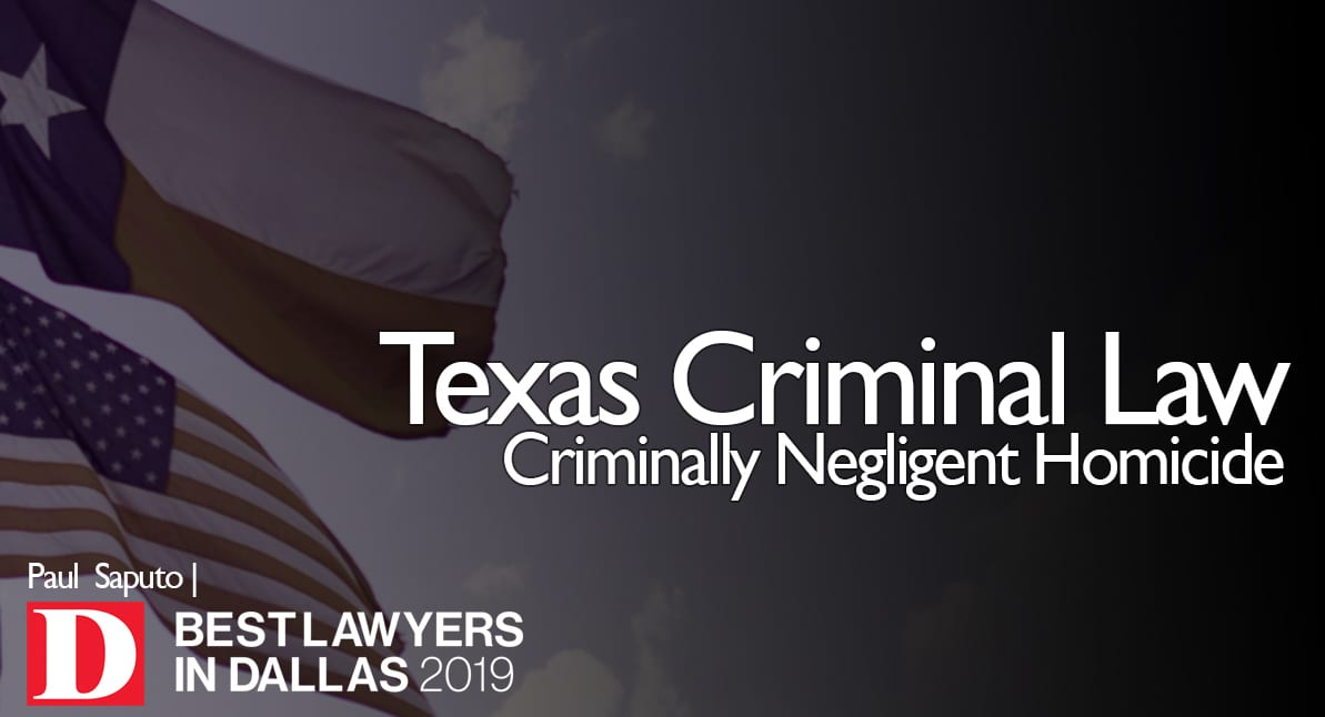 Criminally Negligent Homicide graphic with Texas flag