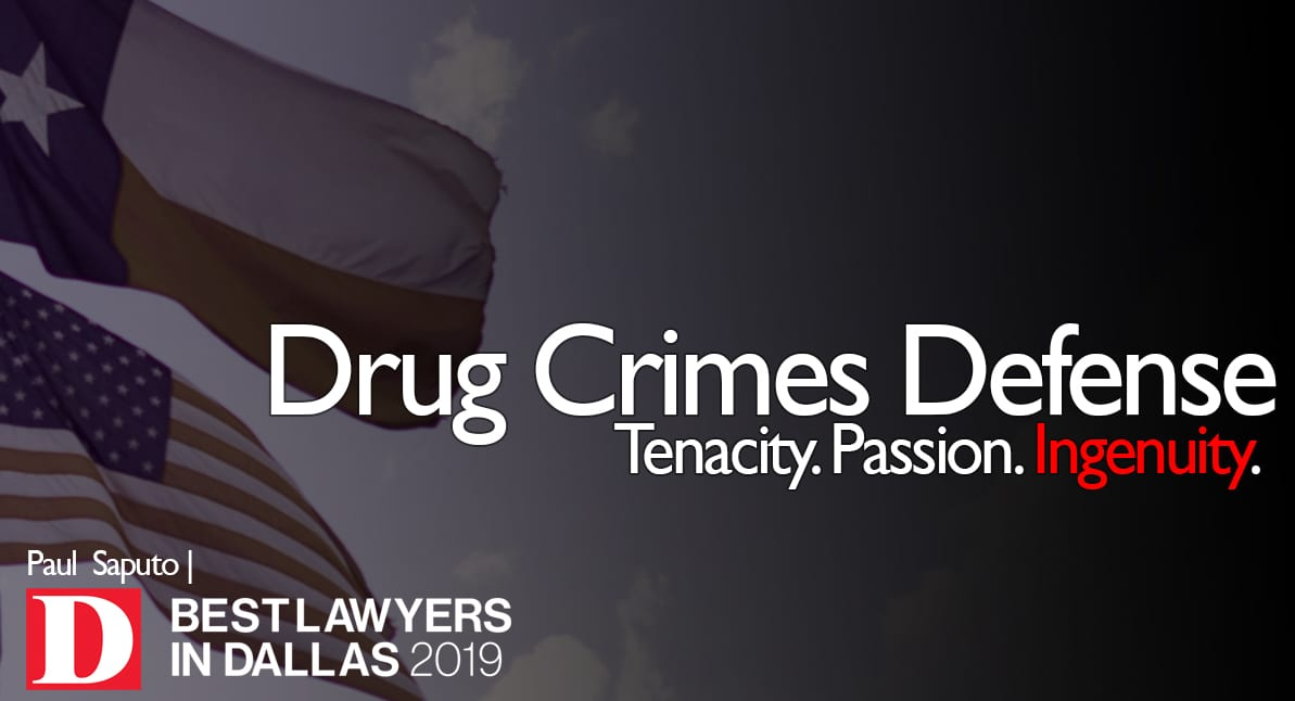 Drug Crimes Defense graphic with Texas flags