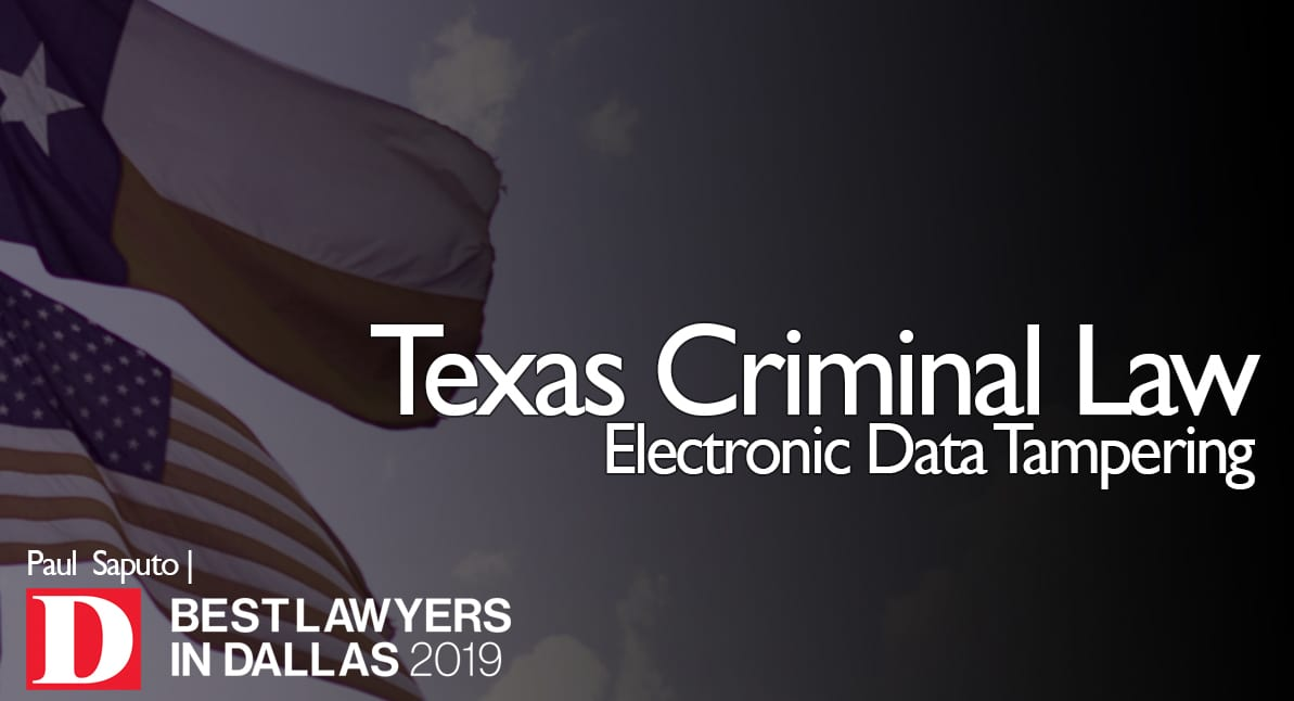 Electronic Data Tampering graphic with Texas flag