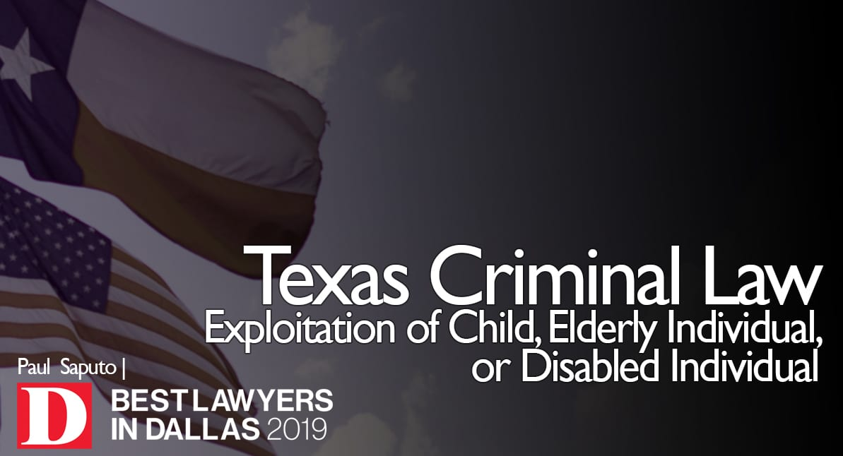 Exploitation of Child Disabled Eldery graphic with texas flag