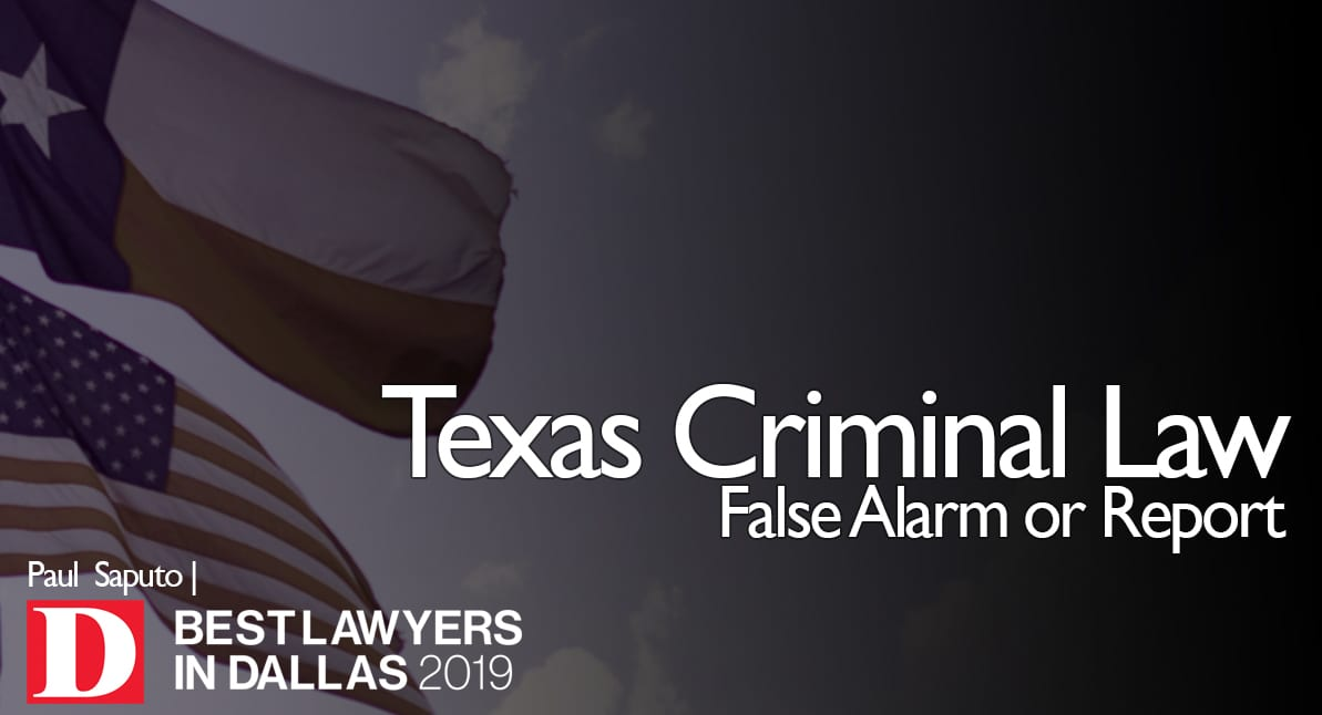 False Alarm or Report graphic with texas flag