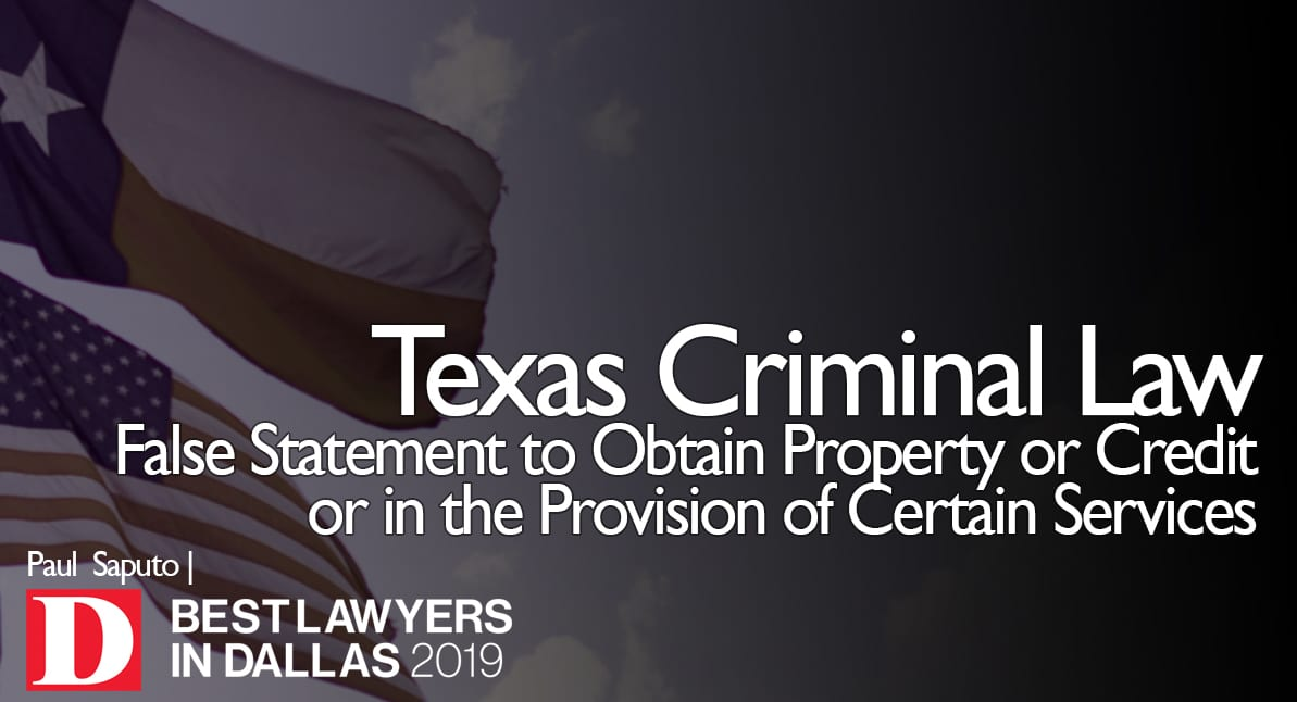False Statement to Obtain Property or Credit with Texas flag
