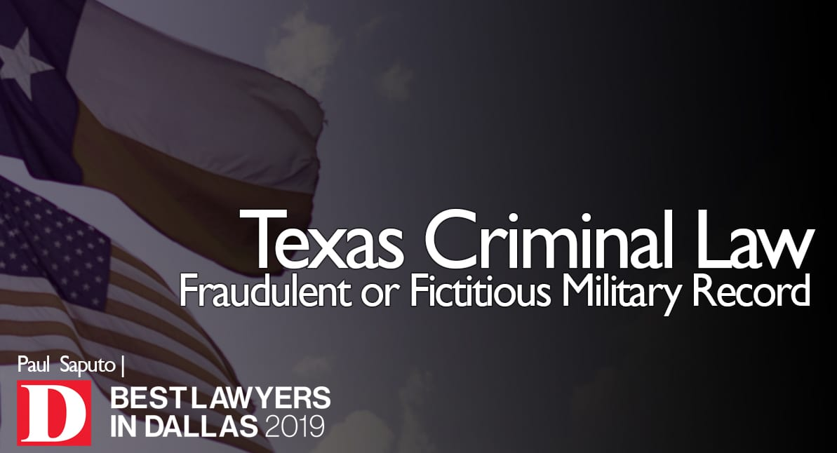 Fraudulent or Fictitious Military Record graphic with Texas flag
