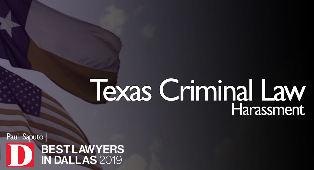 Harassment Law graphic with Texas flag