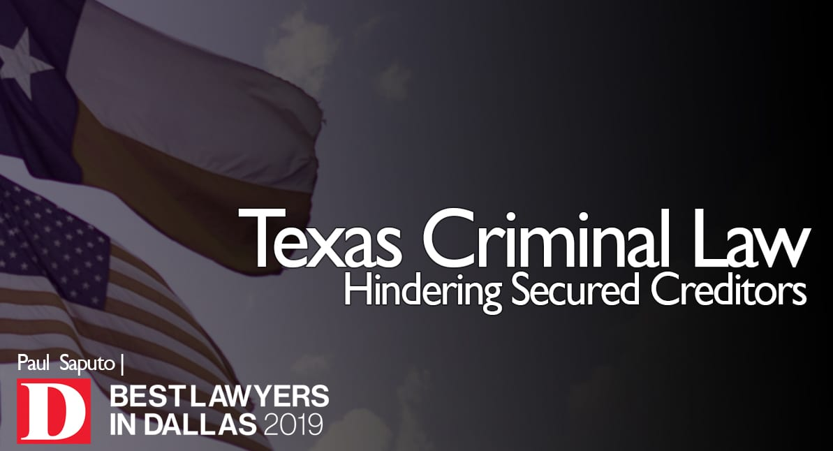 Hindering Secured Creditors graphic with Texas flag
