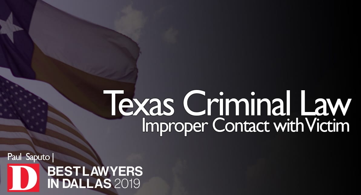 Improper Contact with Victim graphic with Texas flag