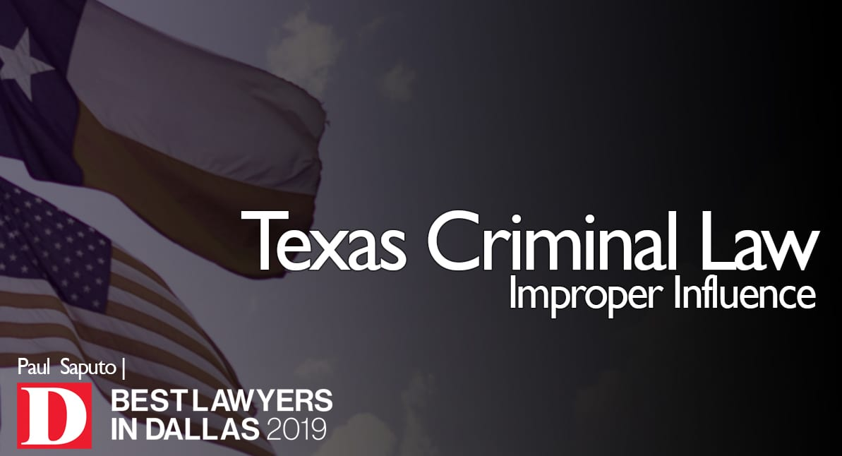 Improper Influence graphic with Texas flag