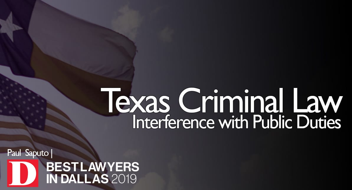 Interference with Public Duties graphic with Texas flag