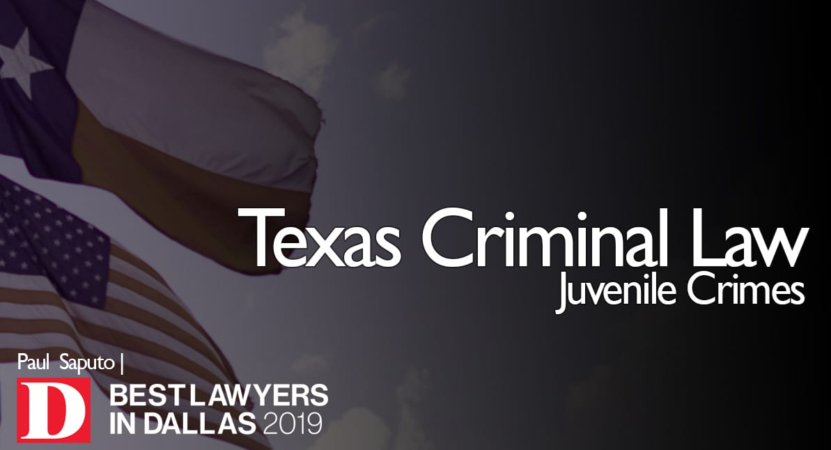 Juvenile Crimes graphic with Texas flag