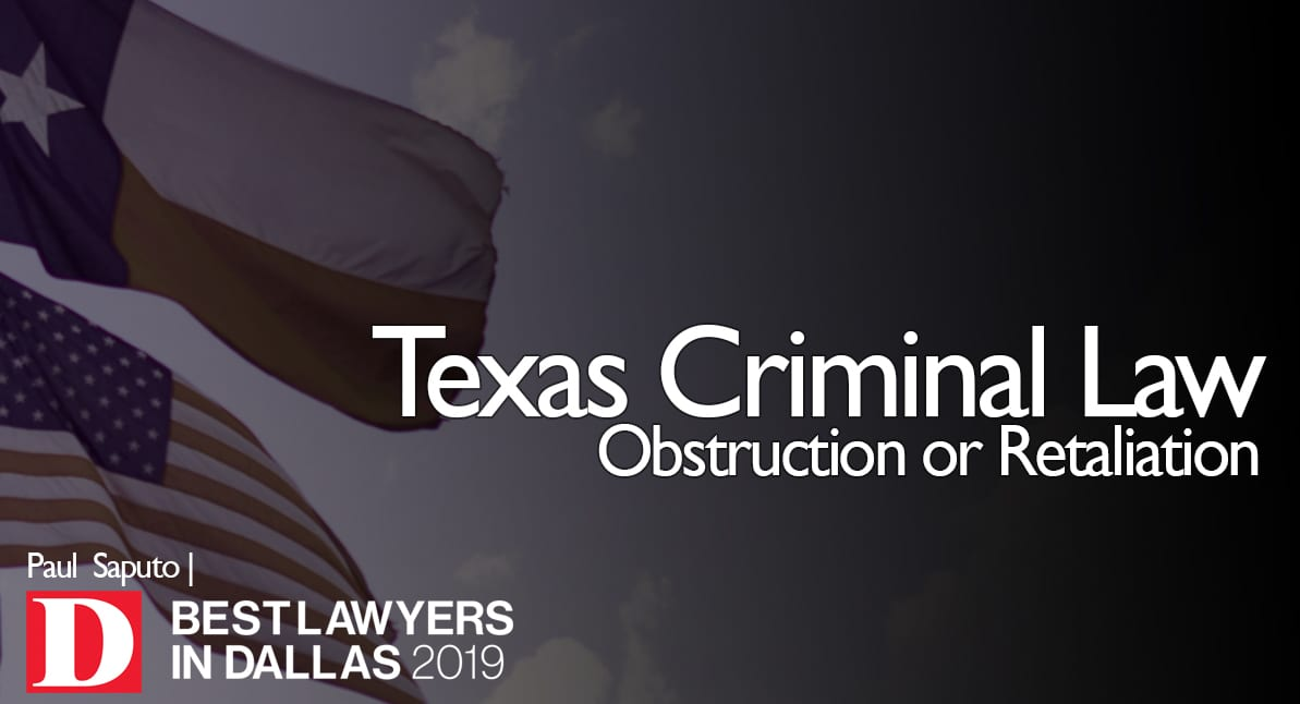 Obstruction or Retaliation graphic with texas flag