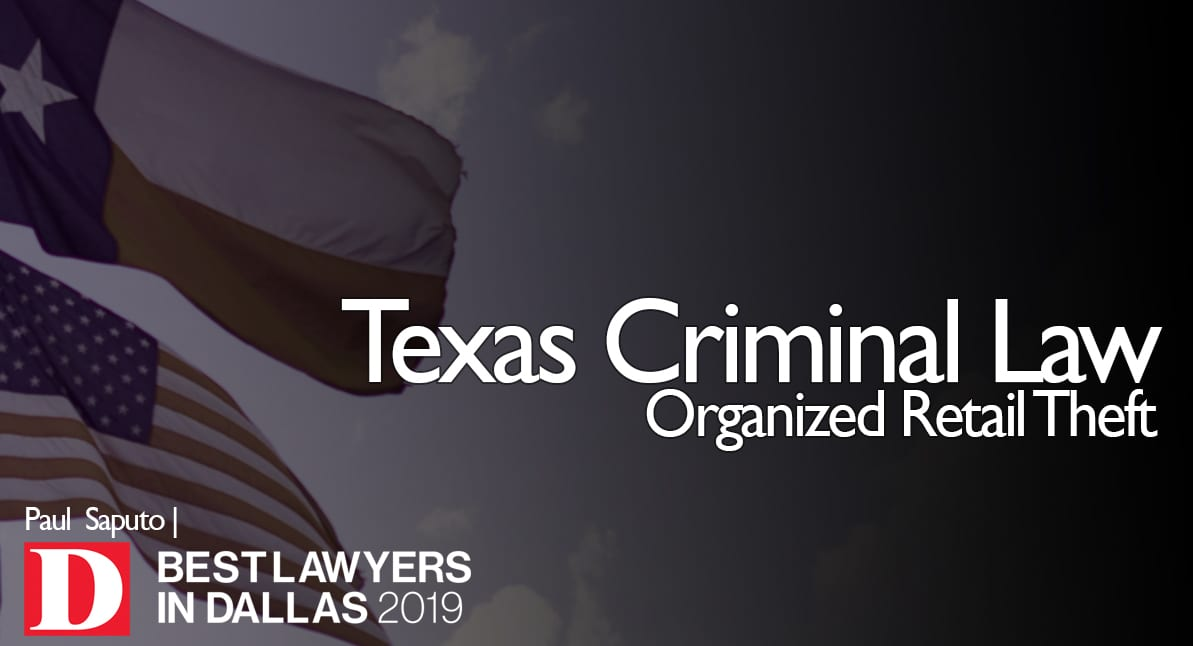 Organized Retail Theft graphic with Texas flag