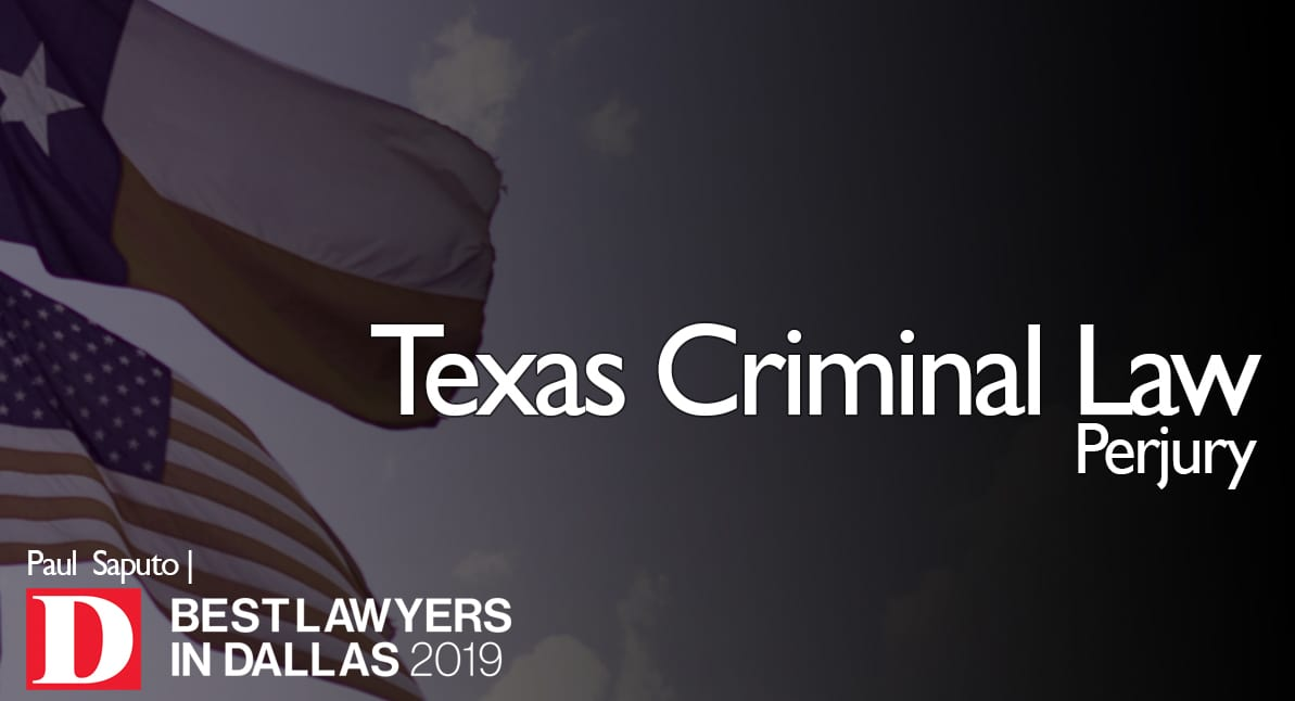 Perjury graphic with Texas flag