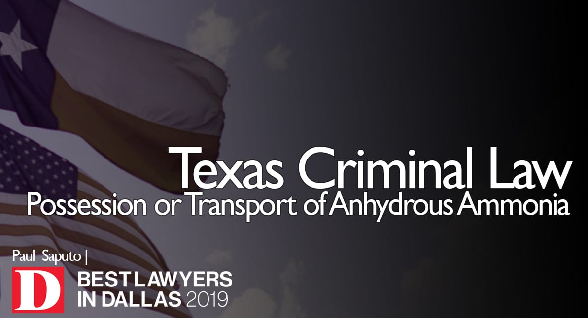 Possession of Anhydrous Ammonia graphic with Texas flag