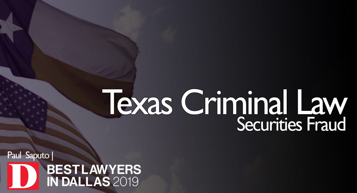 Securities Fraud graphic with Texas flag