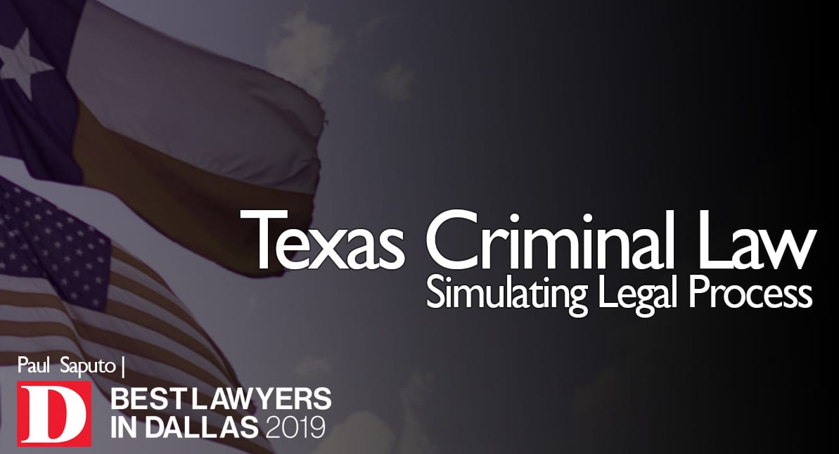 Simulating Legal Process graphic with Texas flag