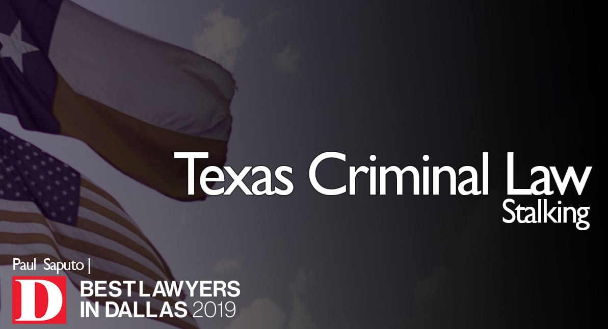 Stalking Law graphic with Texas flag