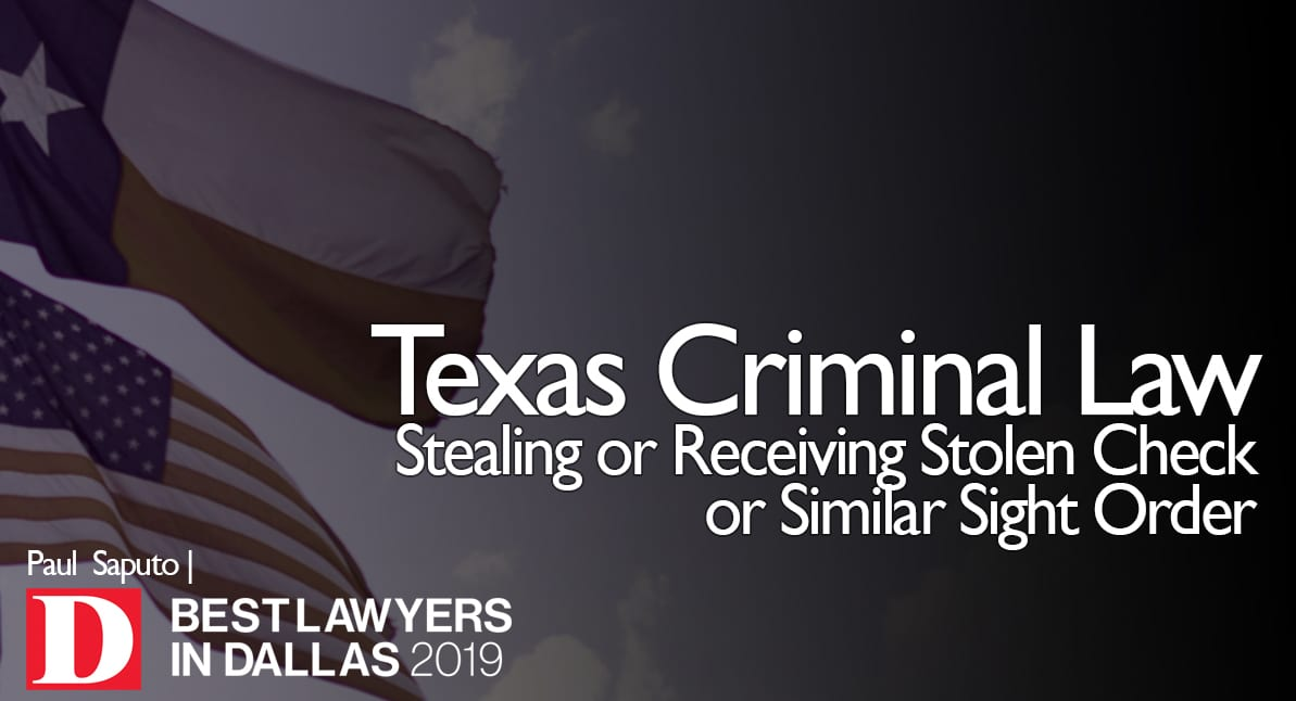 Stealing or Receiving Stolen Check graphic with Texas flag