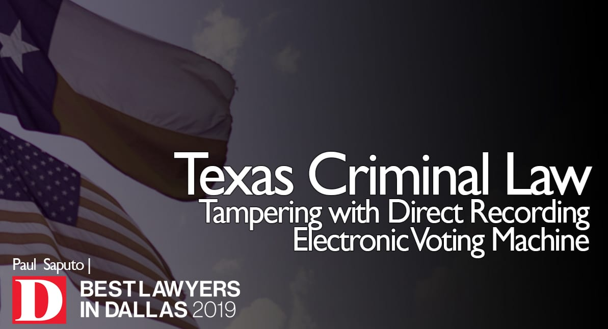 Tampering with Direct Recording Electronic Voting Machine graphic with Texas flag