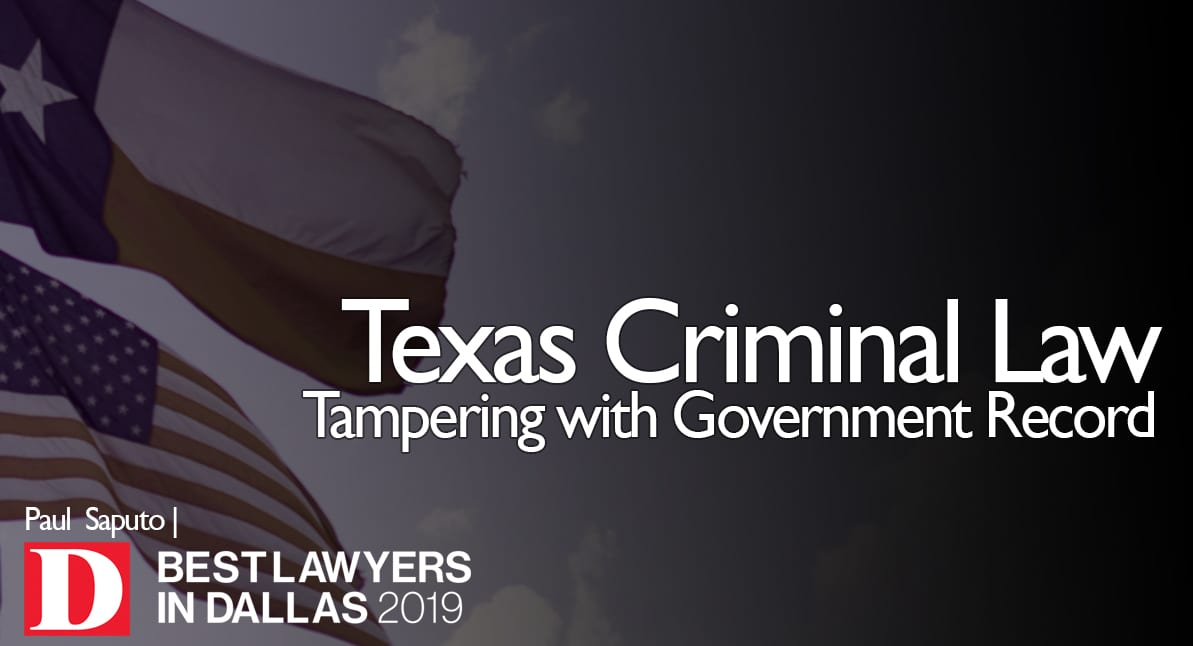 Tampering with Government Record graphic with Texas flag
