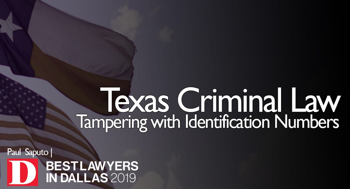 Tampering with Identification Numbers graphic with Texas flag