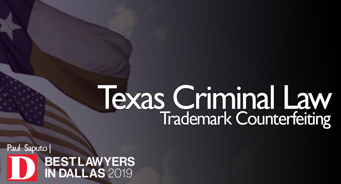 Trademark Counterfeiting graphic with Texas flag
