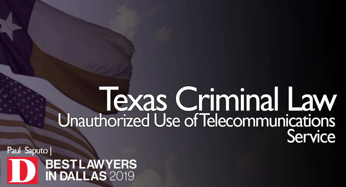 Unauthorized Use of Telecommunications Service graphic with Texas flag