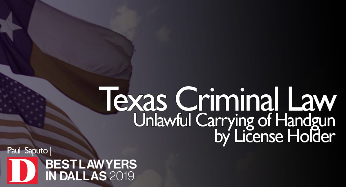 Unlawful Carrying of Handgun by License Holder graphic with Texas flag