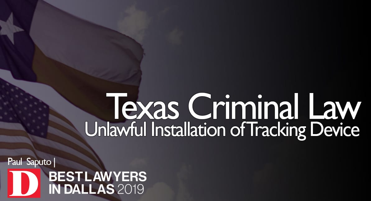 Unlawful Installation of Tracking Device graphic with Texas flag