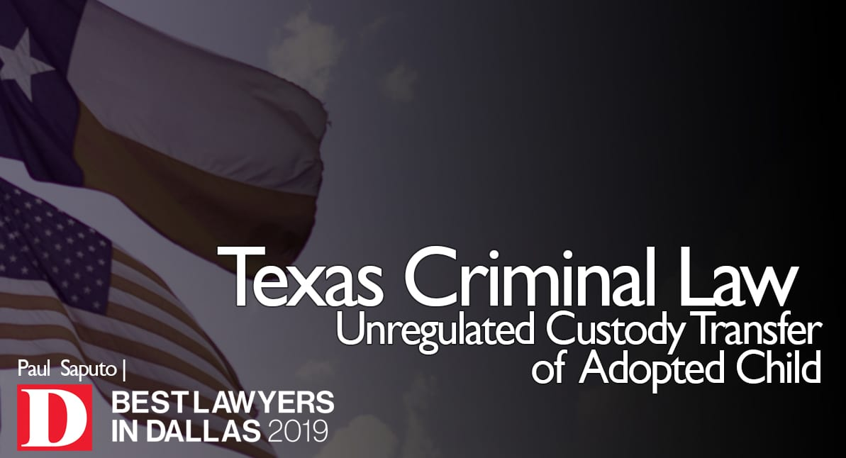 Unregulated-Custody-Transfer-of-Adopted-Child graphic with Texas flag