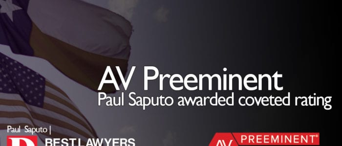 Paul Saputo awarded coveted AV legal rating