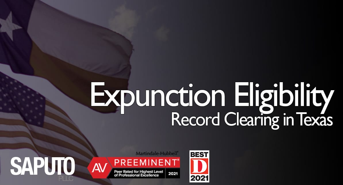 expunction eligibility graphic with texas flag